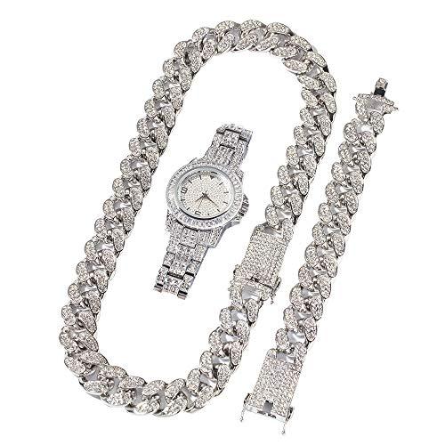 Bling Herrenuhr Iced Out Runde Kristall Strass Diamant Uhren Edelstahl Metall Band, Kubanische Kette & Armband Set, 3 Stück Herren Hip Hop Schmuck Set - Rapper Uhr