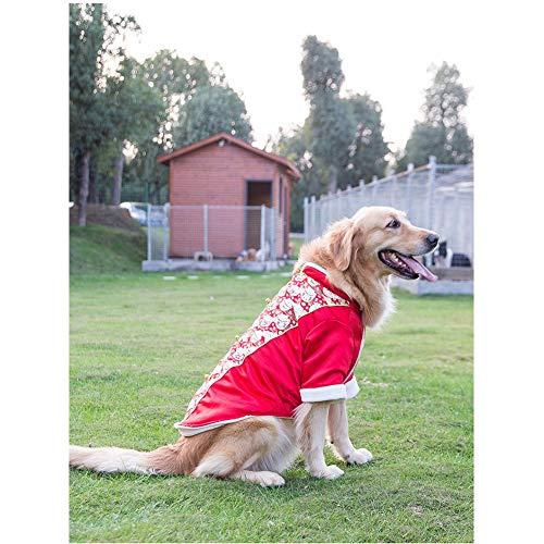 DishyKooker Husky-Kostüm für Hunde, warmer Wintermantel, Glückskatze, Neujahr, chinesische Tang-Dynastie, rot, 7X-Large