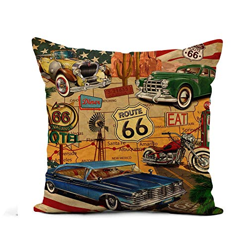 Not Applicable Fodera per Cuscino, American Vintage Route 66 Diner Arizona Map Motorcycle 1950S Federa Elastica 45x45cm