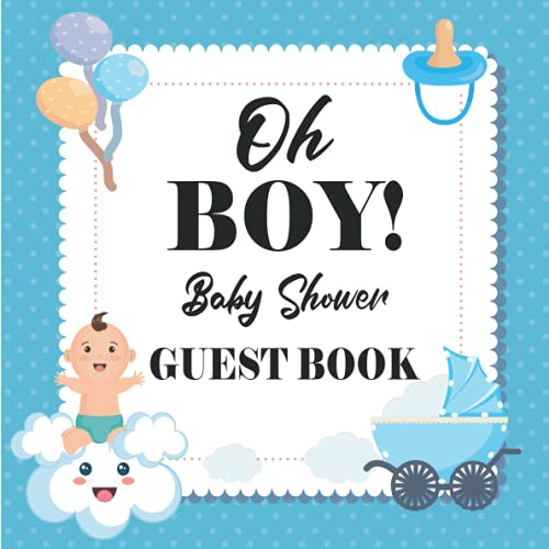 Oh Boy! Baby Shower Guest Book: Elephant Baby Shower Guest Book; Advice for Parents + BONUS Gift Tracker Log + Keepsake Pages; Framed Photo pages