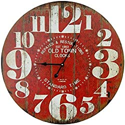 M&M Trading Wall Clock Red with Big Numbers 13 inches