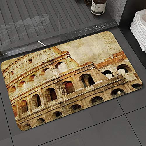 Alfombra de baño y Alfombra antideslizanteSitio Histórico Famoso Ruinas del Coliseo Roma GranjaAlfombrilla de Ducha de Microfibra (50x80cm)