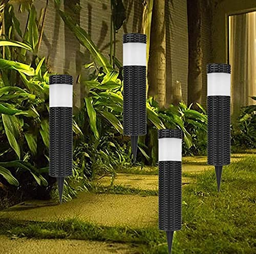 Mtawou Set of 4 Decorative LED Light Solar Lamp Stake Path Lighting Garden Lights Outdoor Light Waterproof Solar Lamp Rattan Cylindrical for Outdoor Garden Patio Lawn