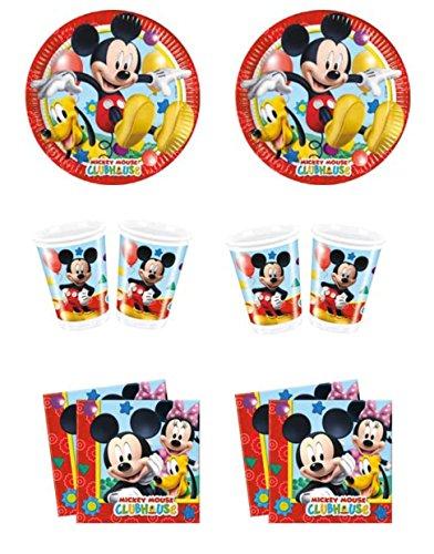Casa Dolce Casa - Kit n° 10 - Service de table pour fête sur le thème de Mickey Mouse (32 assiettes, 32 gobelets, 40 serviettes)