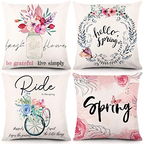 YGEOMER Spring Throw Pillow Covers 18x18 Inch Set of 4 Watercolor Flower Bicycle Decor Decorative Cushion Cases Floral Farmhouse Spring Decorations for Home Decoration or Housewarming Gifts