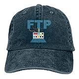 すごい Ubuntu Server - FTP メンズキャップデニムコットン調節可能な帽子カスタム面白い釣りバイザー灰