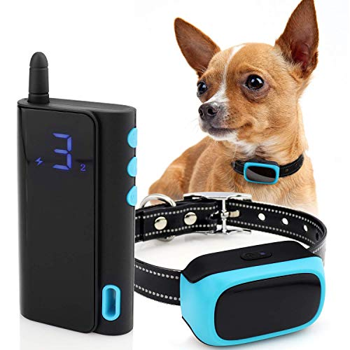 eXuby - Shock Collar for Small Dogs 10-20 pounds Rechargeable - Waterproof Remote Dog Training Collar with 3 Settings - Beep, Vibration and Static Shock for Faster & Gentle Training (Teal)
