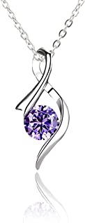 H.ZBRUJ Elegant Amethyst Pendant Necklace for Women 925 Sterling Silver Zirconic Ribbon Shape Pendant Necklace Birthday Present Anniversary for Mom Teens Girls Lady Girlfriend