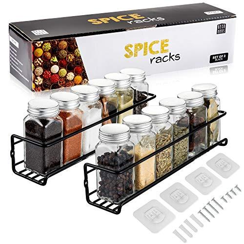 Deco Haus Organizador Especias - Set 2 Estantes de Metal - Estantes de Cocina, Armario, Organizador de Condimentos - Compatible con Nuestros Frascos - Adhesivos o con Tornillos - Negra, 29x6.35x5cm