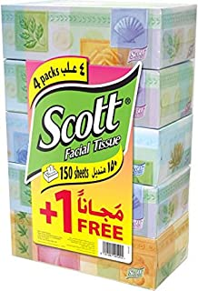 Scott Facial Tissue - Pack Of 5 Boxes X 150 Sheets