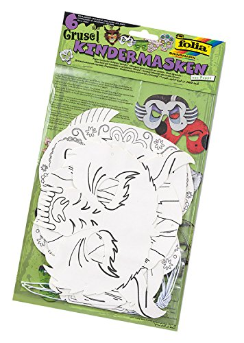Folia Lot de 6 masques en carton pour enfants - Pour décoration et décoration - Pour enfants - Pour anniversaire et fêtes