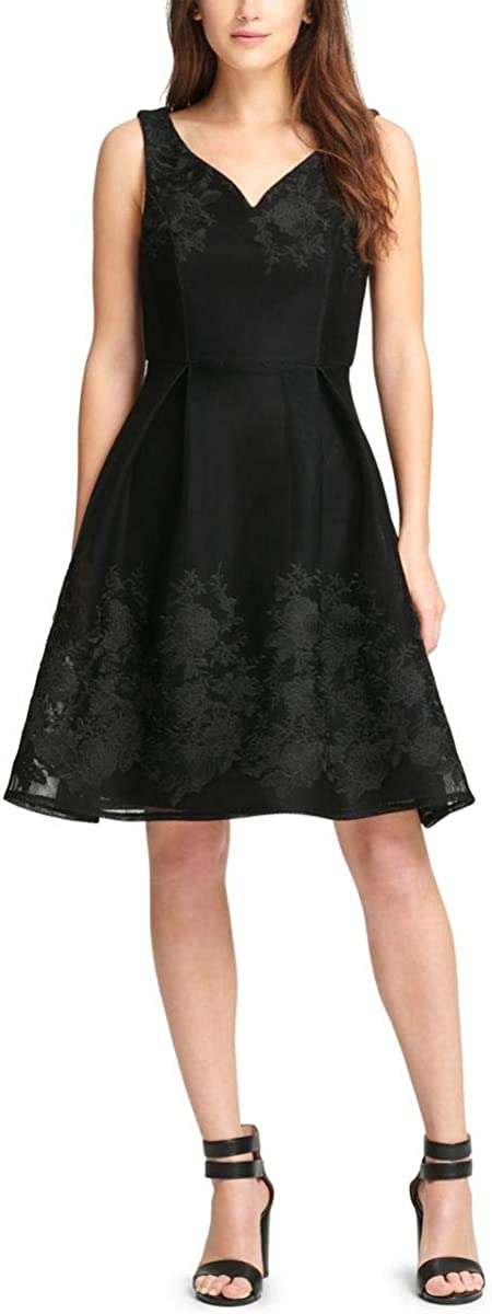 DKNY Womens Black Embroidered Floral Sleeveless V Neck A-Line Formal Dress Size 6