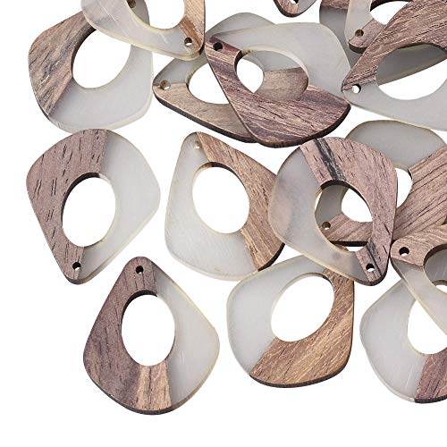 OLYCRAFT 10個 ピアス手作り パーツ 木製 樹脂 しずく レジン ペンダント 木製 イヤリング ピアス ネックレス ブレスレット DIY 手作り 手芸 アクセサリー パーツ 透明の白