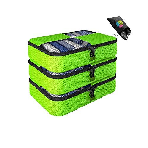 Organizer per valigia UNA SETTIMANA DI SALDI - Set da 4 pezzi - 3 medio + Inclusa borsa riponi-scarpe in omaggio - Garanzia a vita - By Bingonia (verde)