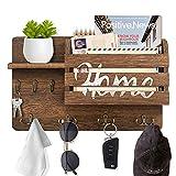 Organizador de llaves con estante flotante y ganchos para llaves dobles, perchas de madera rústica y clasificador de correo para decoración de pared para entrada almacenamiento sala de estar cocina