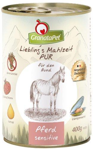 GranataPet Liebling's Mahlzeit Pferd PUR, Nassfutter für Hunde, Hundefutter ohne Getreide & Zuckerzusätze, Alleinfuttermittel mit hohem Fleischanteil & hochwertigen Ölen, 6 x 400 g