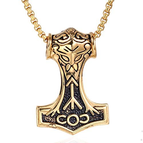 Nordic Viking Odin Thors hamer Mjölnir hanger halsketting voor mannen, handgemaakte Mythos roestvrij stalen bezem amulet, Scandinavisch sieraad geschenk charme