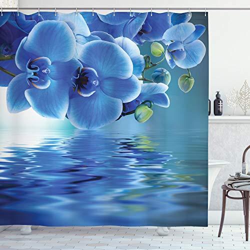 ABAKUHAUS Blume Duschvorhang, Asiatische natürliche Orchideen, mit 12 Ringe Set Wasserdicht Stielvoll Modern Farbfest & Schimmel Resistent, 175x180 cm, Blau