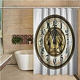 N\A Reloj de Cortina de Ducha Vintage Tema Antiguo un Reloj Vintage con una Cara en él Patrón de diseño Moderno y Elegante Oro y Blanco