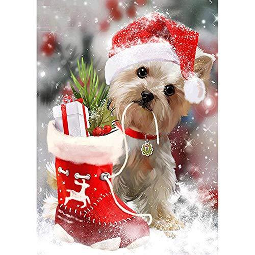 Diamante completo 5D DIY pintura de diamante cachorro Navidad y zapatos bordado diamante Rhinestone mosaico pintura decoración regalo 30x40/40x50cm