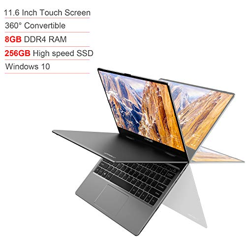 11.6 Inch Laptop TECLAST F5 360° Touchscreen Convertible 8GB RAM 256GB ROM SSD Notebook 1920x1080 FHD IPS Laptop 10 Point Touch Intel N4100 Windows 10 Dual-Band WiFi Type-C