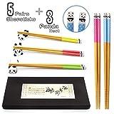 Chopsticks and Chopstick Rest Set, Cute Lucky Cat Chopsticks Holder 5 Cats, Classic Japanese Style Bamboo Natural Reusable Chopsticks, Dishwasher - Safe, Chopsticks Holder Gift Set 5 Pairs (Panda)