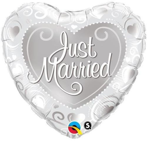Qualatex Just Married Coeurs Argent 18 \
