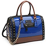Shiny Patent Faux Leather Handbags Barrel Top Handle Satchel Bag Shoulder Bag for Women (7370 large size blue)
