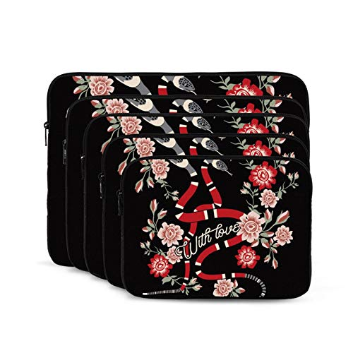 Laptop Carrying Shockproof Liner Bag Durabl Business Briefcase Casual/School/Men Women Flower Snakes Roses-13 inch