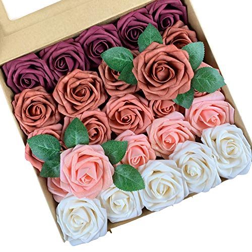 Roqueen 25 Piezas Flores Rosas Artificiales Espuma Rosa Falsa con Tallos para Boda Nupcial Ramos Centros de Mesa Preparativos Partido Hogar Decoración (Rosso Porpora Combo)