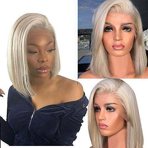 SLRMKK Peluca, Pelucas Cortas y Rectas Bob Pelucas Delanteras de Encaje Rubio Pelucas Completas de 16 'de Longitud de Hombro con Pelucas de Pelo de bebé para Mujeres Negras