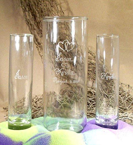 Personalized Unity Sand Ceremony, Wedding and Anniversary, Cylinder with Double Heart Art work
