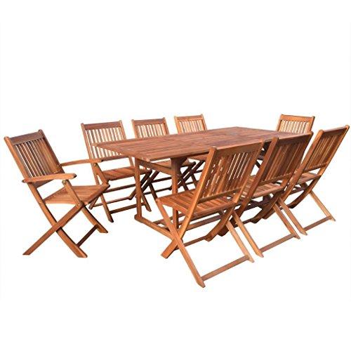 LD hout 9-delig eettafel zitgroep tuinmeubelen acacia klapstoel