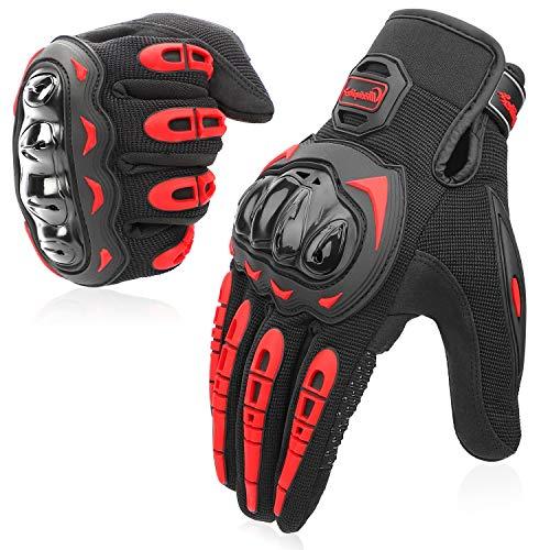 COFIT Motorrad Handschuhe, Touchscreen Motorradhandschuhe für Motorradrennen, Mountainbike, Motorcross, Klettern, Wandern und andere Outdoor Sportarten und Aktivitäten - Rot M
