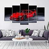 KOPASD 5 Partes decoración de Paredes Moderna Ferrar Red Sports Car HD Impresión Foto 200 * 100Cm Regalo para Salon,Dormitorio,Baño,Comedor Decoració