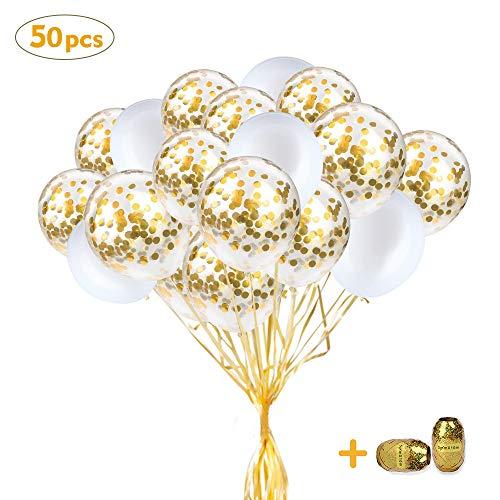 SPECOOL Globos de Oro Blanco, 50Piezas Globos de látex Blancos y Globos de Confeti de Oro Globos de Decoración de Fiesta Boda Nupcial Baby Shower Fiesta de Cumpleaños Niñas Niños