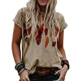 Women's Western Tribal Ethnic Feathers Print Shirt Stylish Dream Catcher Feathers Casual Tops Classic O-Neck Blouse Tee Khaki