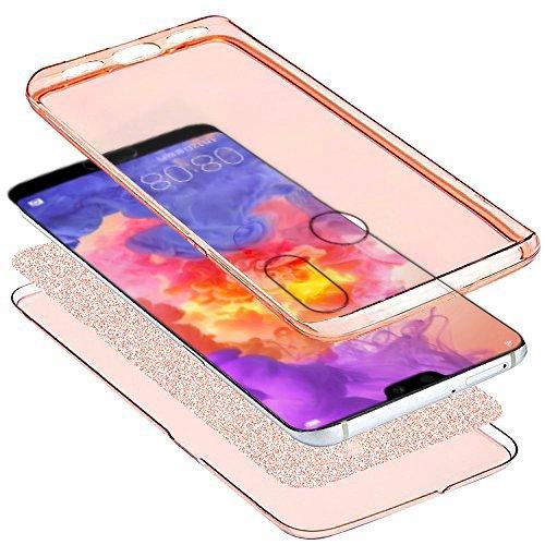 Kompatibel mit Huawei P20 Lite Hülle Schutzhülle Case,Full-Body 360 Grad Bling Glänzend Glitzer Durchsichtige TPU Silikon Hülle Handyhülle Tasche Front Cover Schutzhülle für Huawei P20 Lite,Rose Gold - 3