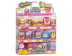 Shopkins Mini Packs Shopper Pack Includes 8 Collector's Edition Shopkins Includes 8 Mini Packs! 2 Shopkins & 2 Mini Packs are hidden inside! Styles & Characters May Vary