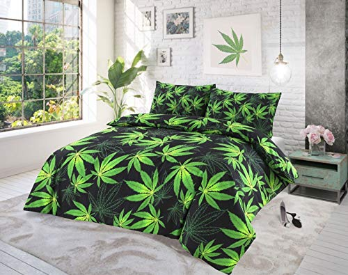 Sleepy eyes CANNABIS WEED DUVET SET QUILT COVER WITH FREE PILLOW CASES (CANNABIS BLACK, Double Duvet Cover Set)