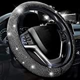Valleycomfy Steering Wheel Cover for Women Bling Bling Crystal Diamond Sparkling Car SUV Wheel Protector Universal Fit 15 Inch (Black with White Diamond,Standard Size(14' 1/2-15' 1/4))