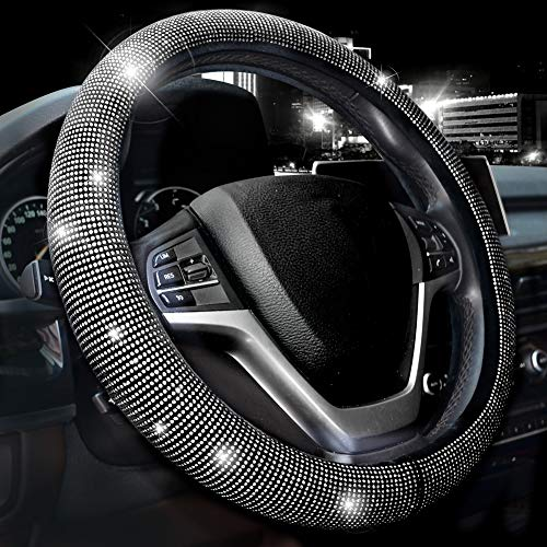 Valleycomfy Steering Wheel Cover for Women Bling Bling Crystal Diamond Sparkling Car SUV Wheel Protector Universal Fit 15 Inch (Black with White Diamond)