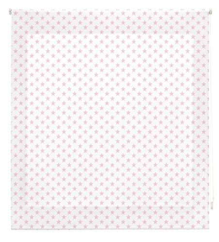 Blindecor S-Stars Estor Enrollable Digital Translúcido, Tela, Blanco con Estrellas Rosa, 150 x 180 cm
