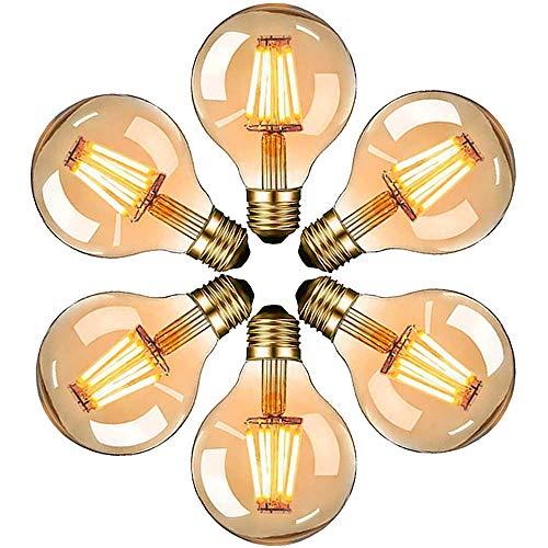 Edison Vintage Glühbirne, E27 LED Dekorative Antike Leuchtmittel Globe Birne, G80 6W warmweiß 2700K Filament Lampe, Amber Glas, Ideal für Nostalgie und Retro Beleuchtung, [Energieklasse A+] (6 Stück)