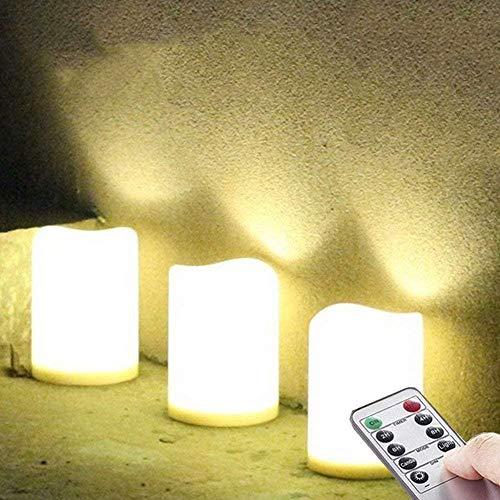 3 Stück LED im Freien Wasserdichte Kerzen, Batteriebetriebene Plastikkerze mit Fernbedienung / Timer-Funktion (Warmweißes Licht) - 8cm X 10cm