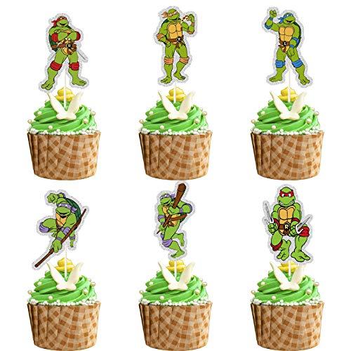 Glitter Ninja Turtles Cupcake Topper, TMNT Cupcake Topper, Turtles Birthday Party Decoration, Ninja Turtles Party Supplies