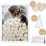 GLM Wedding Guest Book Alternative Drop Top Frame with Display Stand, 85 Wooden Hearts, 2 Large Hearts, and...