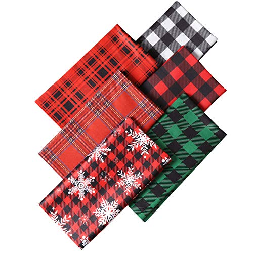Meneng Christmas Buffalo Plaid Fabric 6 Pieces 20 x 20 Inch,Snowflakes and Lattice Print Pattern Quilting Fabric Squares Sheets for Sewing Patchwork and DIY Craft Supplies