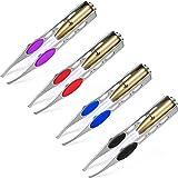 4 Pinzette con Luce Led Pinzette di Precisione in Acciaio Inossidabile Pinzette Illuminate di Rimozione dei Capelli del Sopracciglio del Ciglio della Luce di Trucco LED