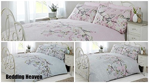 Bedding Heaven Oriental Blossom Duvet Cover - ELOISE - Grey, Pink or Duck Egg (king, pink)